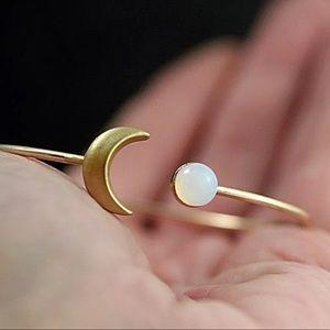 {BRAELYNN} boho moonstone crescent bangle bracelet